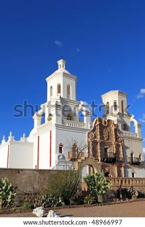 San Xavier del Bac, vertical - stock photo