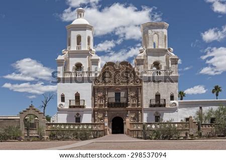 San Xavier Mission Del Bac In Tucson Arizona - stock photo