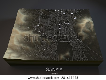 Sana'a map, satellite view. Yemen. 3d - stock photo