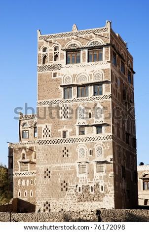 sanaa old town, yemen - traditional yemeni architecture - stock photo