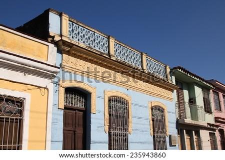 Sancti Spiritus, Cuba - colonial architecture. Colorful street view. - stock photo