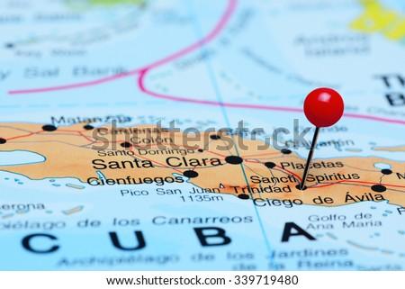 Sancti Spiritus pinned on a map of America  - stock photo