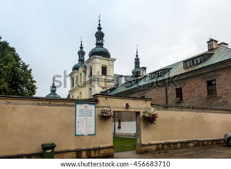 Sanctuary and the Franciscan monastery in Kalwaria Paclawska  in southeastern Poland - stock photo