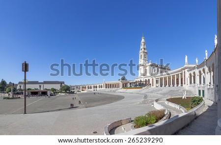 Sanctuary of Fatima, Portugal. Basilica of Nossa Senhora do Rosario and square. One of the most important Marian Shrines and pilgrimage location in the world for Catholics - stock photo