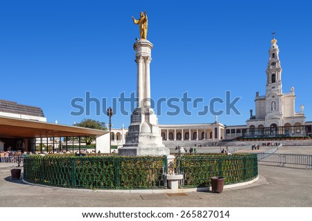 Sanctuary of Fatima, Portugal, March 07, 2015 - Sacred Heart of Jesus Monument, Our Lady of the Rosary Basilica, Apparitions Chapel. Fatima is one of the most important Catholic pilgrimage locations  - stock photo