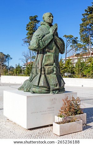 Sanctuary of Fatima, Portugal, March 07, 2015 - Statue of Pope Paul VI by sculptor Joaquim Correia. Fatima is one of the most important pilgrimage locations for Catholics in the world	 - stock photo