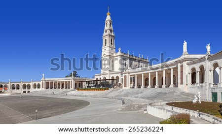 Sanctuary of Fatima, Portugal. Sanctuary of Fatima. Basilica of Nossa Senhora do Rosario and square. One of the most important Marian Shrines and pilgrimage location in the world for Catholics - stock photo