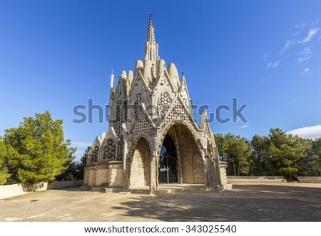 Sanctuary of Montserrat in Montferri  Alt Camp, Tarragona province, Catalonia, Spain. By modernist architect Josep Maria Jujol - stock photo