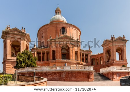 Sanctuary of the Madonna di San Luca located in the italian city of Bologna. - stock photo