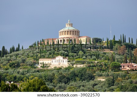 Sanctuary of the Madonna of Lourdes on San Leonardo hill which encircles the Valdonega valley, Verona, Italy, Europe. Consecrated to the Stigmatine Fathers and Brothers. - stock photo