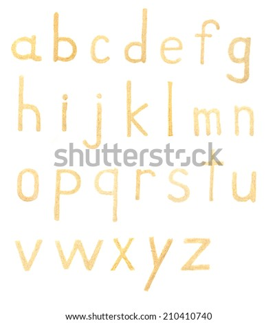 Sand alphabet letters isolated on white - stock photo