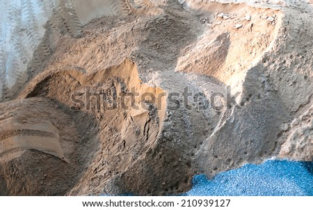sand and gravel at construction site