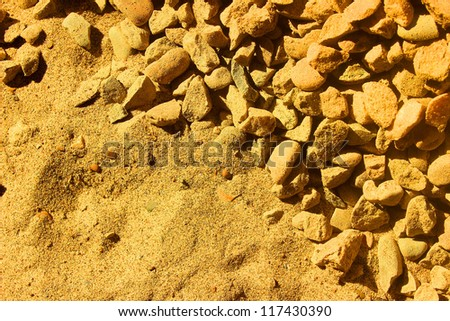 sand and gravel in the background - stock photo