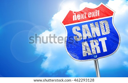 sand art, 3D rendering, blue street sign
