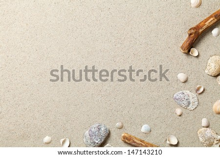 Sand background. Sandy beach texture. Summer concept. Top view - stock photo
