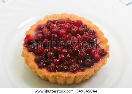 Sand basket with cranberries on white plate - stock photo