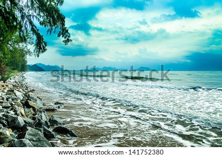 Sand beach and sea wave - stock photo
