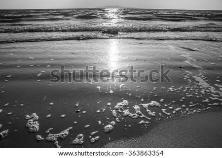 Sand beach and wave at koh lanta,Thailand.(black and white) - stock photo