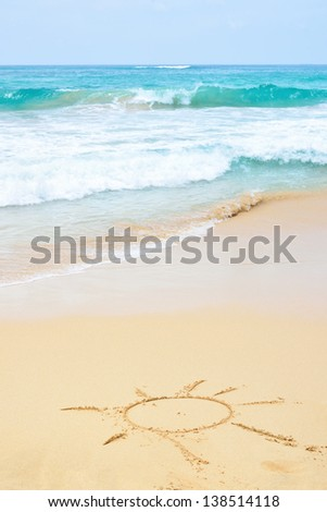 Sand beach and wave with sun - stock photo