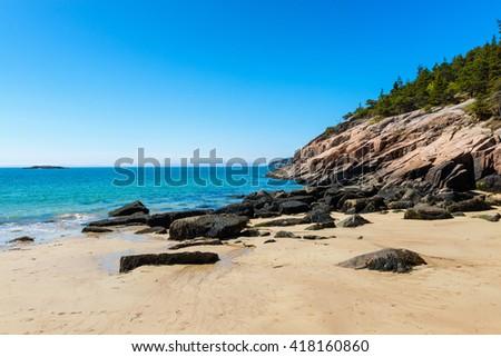 Sand Beach in Acadia National Park, Maine, USA. - stock photo