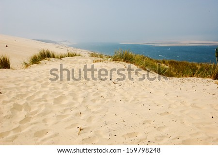 Sand beach in Arcachon , dune of pyla - stock photo