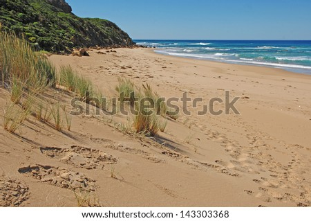Sand Beach off Tasmania, Australia - stock photo