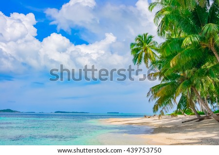 Sand beach on remote tropical island, Banyak Islands, Indonesia, Southeast Asia - stock photo