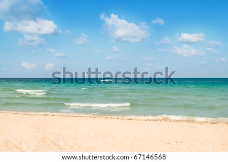 Sand beach on the bright summer day - stock photo