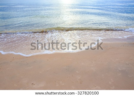 Sand beach with wave of the sea.