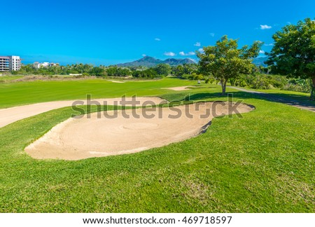 Sand bunker at the golf course.