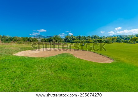 Sand bunker at the gorgeous golf course.