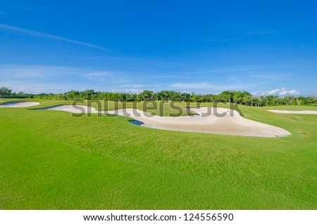 Sand bunker on the golf course. Mexican resort. Bahia Principe, Riviera Maya. - stock photo