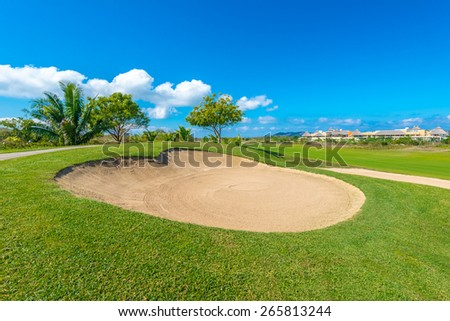 Sand bunkers at the beautiful golf course.
