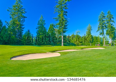 Sand bunkers at the gorgeous golf course