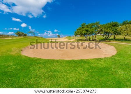 Sand bunkers at the gorgeous golf course.