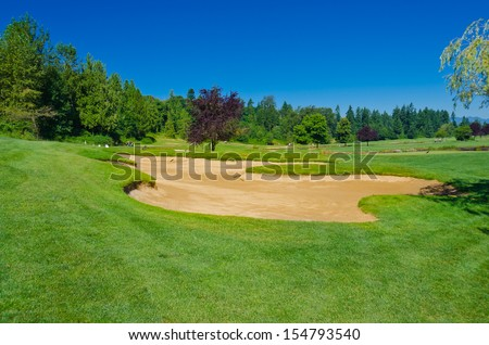 Sand bunkers on a beautiful golf course. Canada, Vancouver.