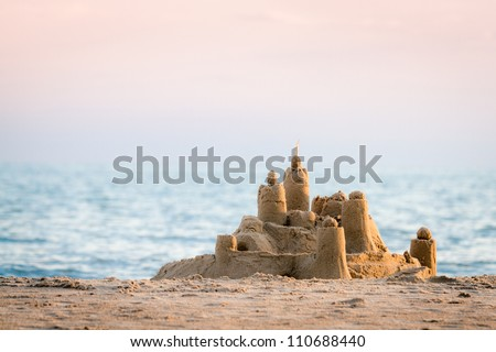 Sand Castle on Beach - stock photo