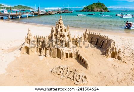 Sand castle on beach in Buzios, Rio de Janeiro. Brazil - stock photo