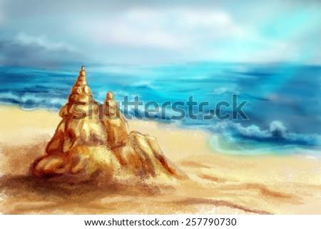 Sand castle on the beach, digital sketch - stock photo
