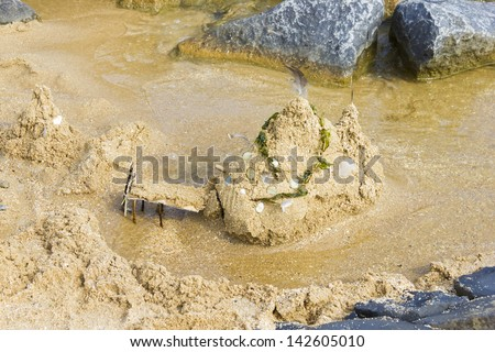 Sand Castle on the Beach, Netherlands - stock photo