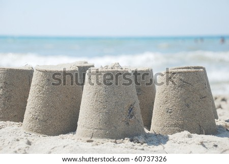 sand castles - stock photo