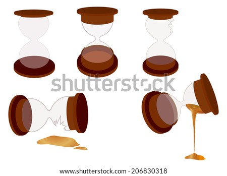 Sand clock objects, including broken ones - stock photo