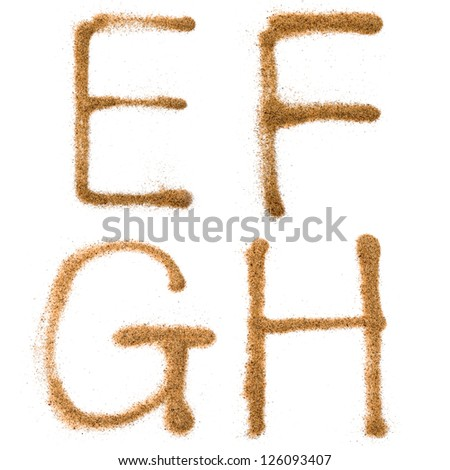 Sand containing letters,isolated on white background