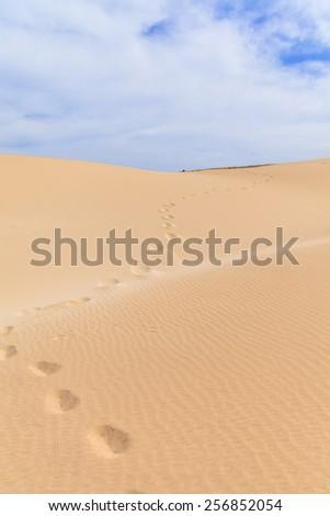 Sand desert in Boavista, Cape Verde - Cabo Verde - stock photo
