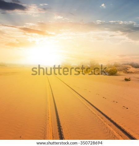 sand desert landscape at the sunset - stock photo
