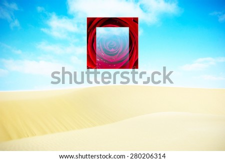 Sand Dune and Rose - Digital Photograph Composition - stock photo