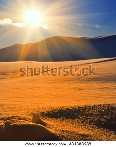 sand dune in a desert at the evening - stock photo