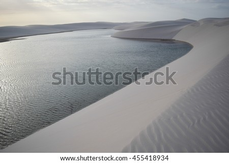 Sand Dunes and lagoons in Brazilian National Park