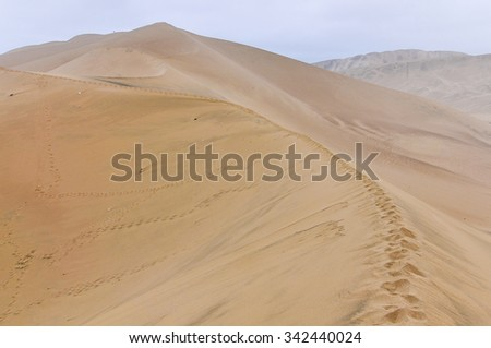 Sand dunes around Huacachina in the coastal desert of Peru