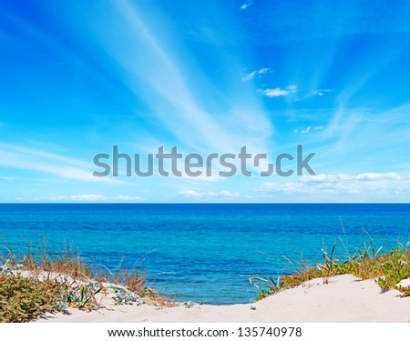 sand dunes by the sea in Sardinia - stock photo